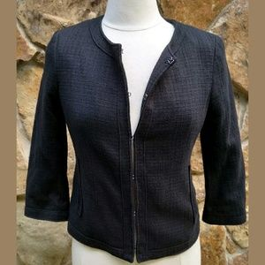 Banana Republic Jacket 10P Black Tweed 3/4 Sleeve